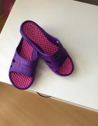 Klapki fioletowo rozowe gumowe