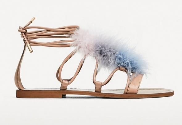 Sandały z piórami ZARA 36
