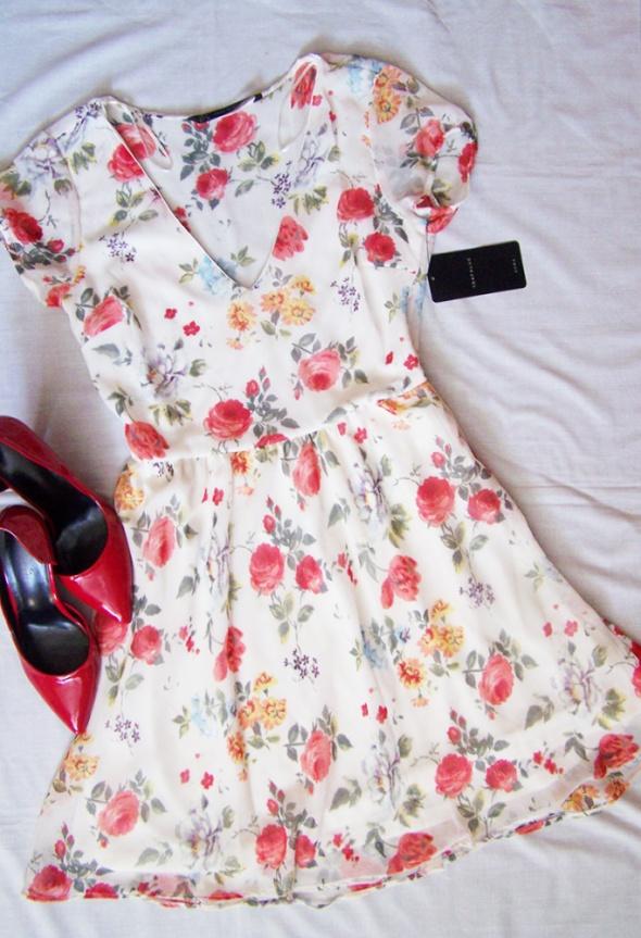 fd47e47f15 ZARA sukienka róże zwiewna letnia kwiaty 38 40 w Suknie i sukienki ...