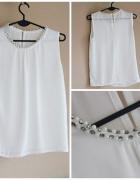 Biała bluzka cyrkonie
