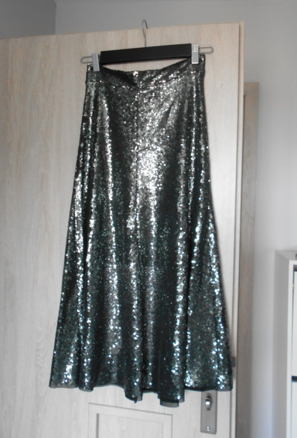 Spódnice Zara maxi spódnica cekinowa cekiny srebrna nowa