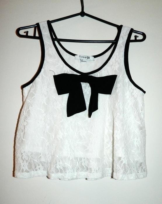 Bluzki biała koronkowa bluzka z kokardką FOREVER 21