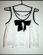 biała koronkowa bluzka z kokardką FOREVER 21...