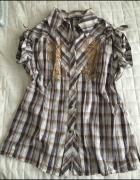 Koszula w kratę ze złotym nadrukiem l xl