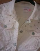 Katana jeansowa z cwiekami pudrowy róż...