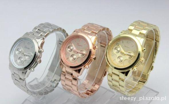 Zegarki ZEGAREK NA BRANSOLECIE ZŁOTY SREBRNY RÓŻOWE ZŁOTO