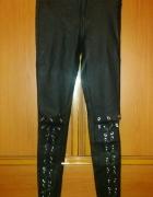 sznurowane skórzane spodnie