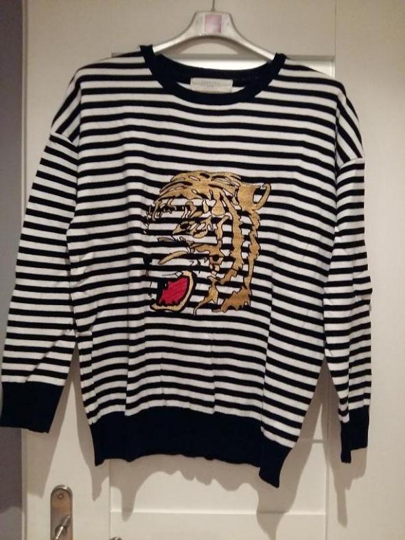 Swetry nowy ZARA sweter w paski aplikacja tygrys blog HIT