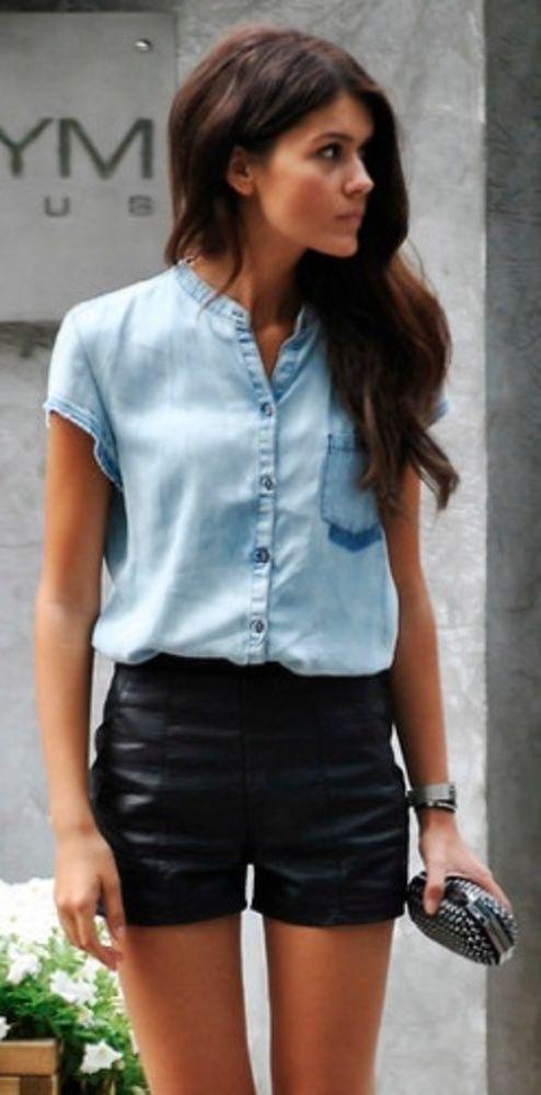Codzienne Skórzane szorty i koszula dżinsowa