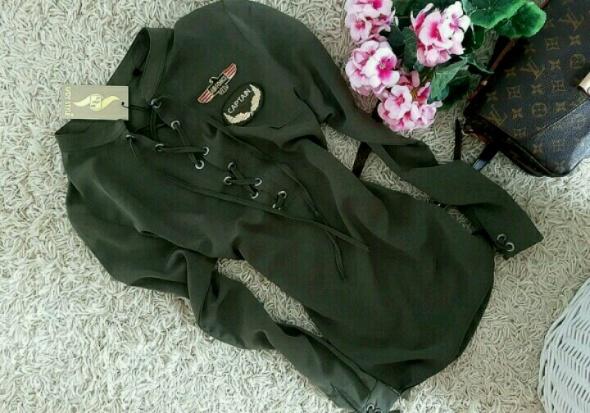Koszula kHaki army military sznurowana