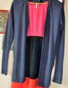 Sweter rozpinany S M cardigan długi niebieski