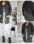 Swetry szare wiązane na ozdobną tasiemkę