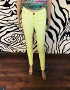 neonowe spodnie rurki Vila 36 S zółte