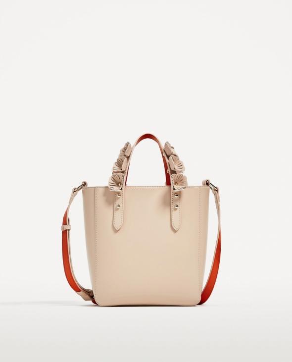 Pudrowa Torebka typu shopper Zara
