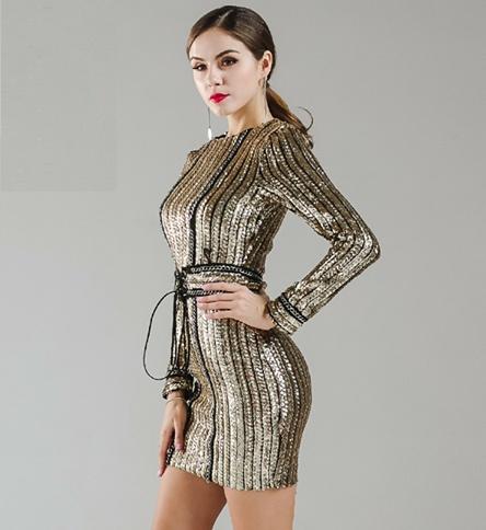 złota sukienka długi rąkaw