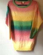 Sweter Tęcza Rainbow H&M oversize sweterek