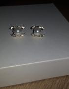 nowe kolczyki chanel cyrkonie złote perły