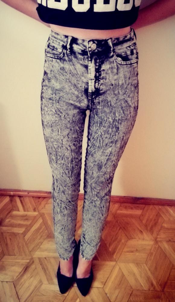 Spodnie Spodnie marmurkowe wysoki stan 34 XS bershka