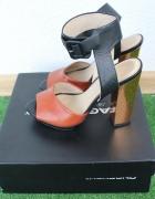 Sandały skórzane Zara ze złotym obcasem rozmiar 37...