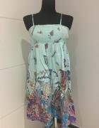 Kolorowa Zwiewna Sukienka L