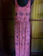 Długa sukienka aztec róż L