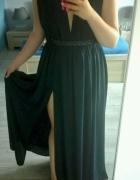 granatowa suknia Asos L...