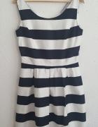 Rozkloszowana Sukienka Paski Marynarska Reserved