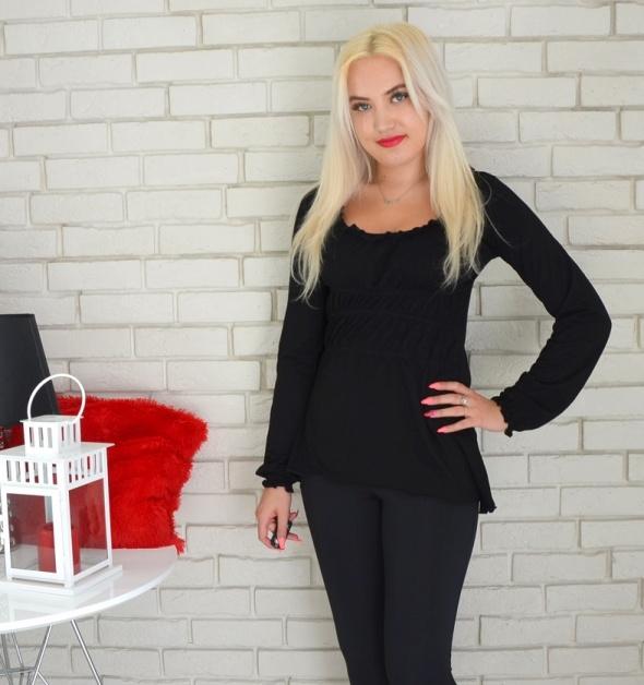 Bluzki Czarna bluzka z długim rękawem