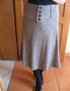 Spódnica spódniczka H&M 34 xs beżowo brązowa