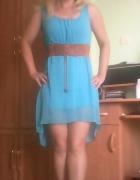 asymetryczna niebieska sukienka...