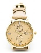 Zegarek elegancki na skórzanym pasku beżowy czarny