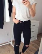 NOWE spodnie z dziurami przedarcia czarne skinny