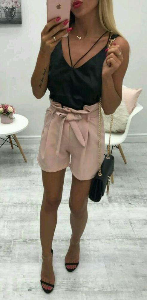 spodenki modne wiązanie czarne uniwersalny rozmiar bloger cudne sexi