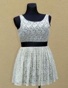 NEXT koronkowa kremowa sukienka wieczorowa 42
