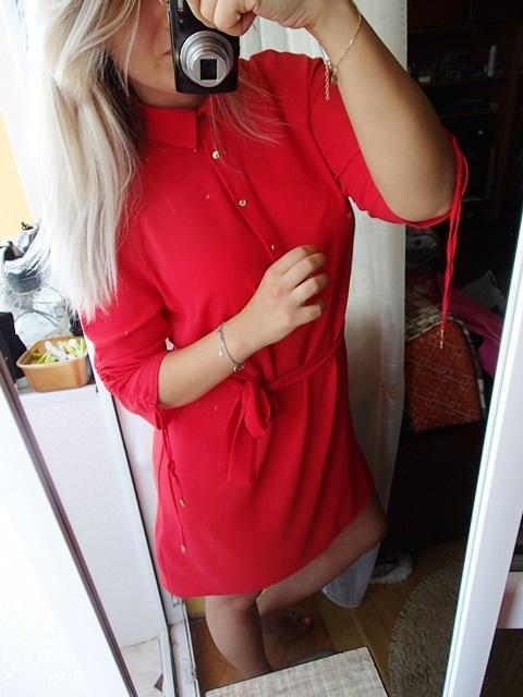 Sukienka szmijzerka czerwona red lips...