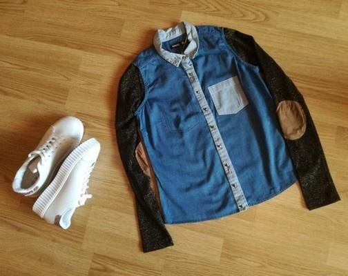 Jeansowa koszula Sinsay XS DIY ćwieki