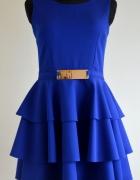 Kobaltowa sukienka rozkloszowana roz 38 M