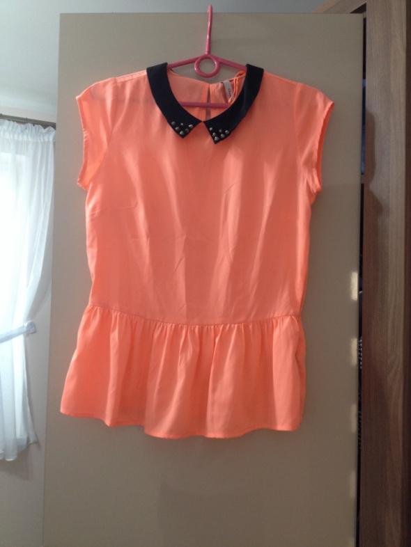 Brzoskwiniowa bluzka neon baskinka reserved xl