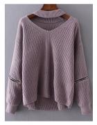 Gruby sweter z chokerem...