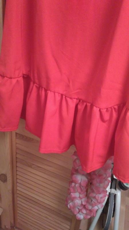 sukienka czerwona falbana elegancka s m nowa