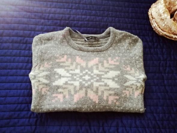 Sweter wełniany szary gwiazdka sexy tumblr XS 34