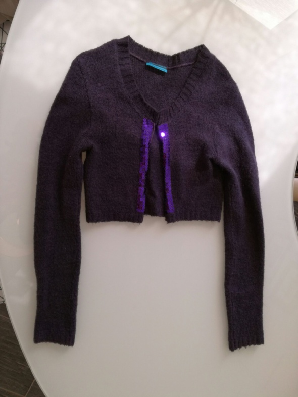 Sweterek bolerko fioletowe z cekinami fioletowe S XS M