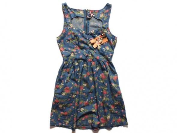 Sukienka CROPP floral jeans r XS rozkloszowana