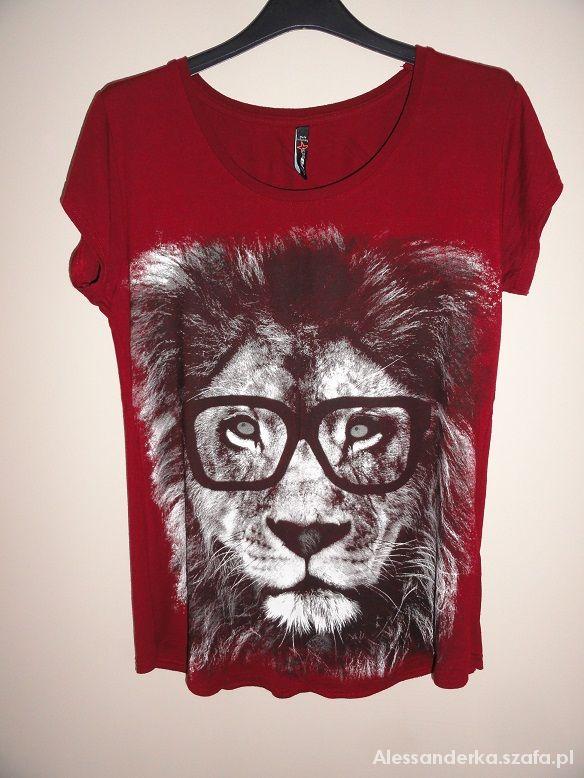 bordowa koszulka z lwem new yorker
