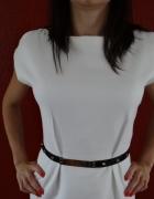 biała sukienka z paskiem w talii mohito