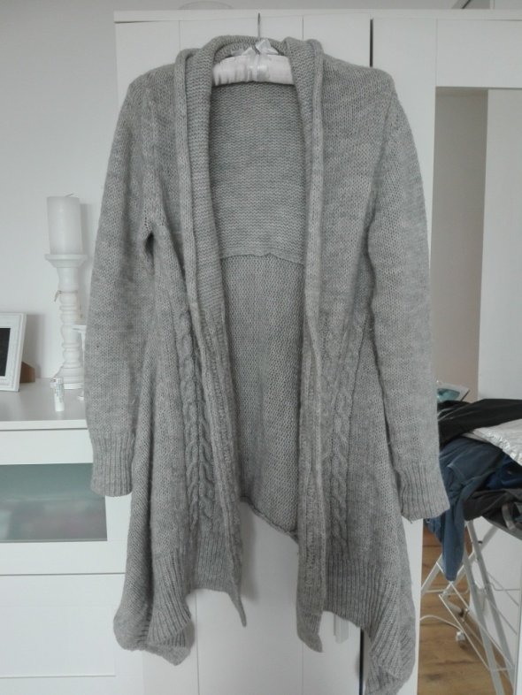 szary popielaty sweter kardigan długi ling wełna