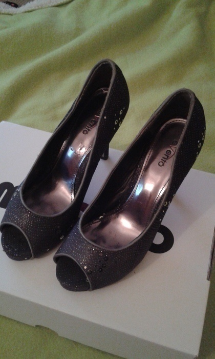 Czółenka Srebrne szpilki open toe rozmiar 36