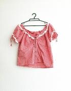 bluzka crop krótka krata kratkę bawarska vintage