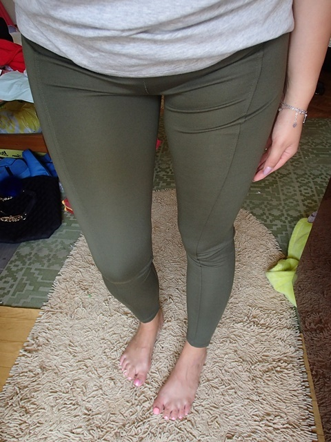 Tregginsy oliwkowe khaki wyszczuplające spodnie...