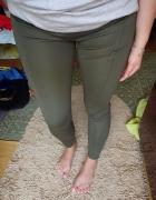 Tregginsy oliwkowe khaki wyszczuplające spodnie